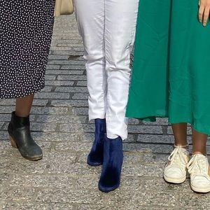 Electric Blue Velvet Boots